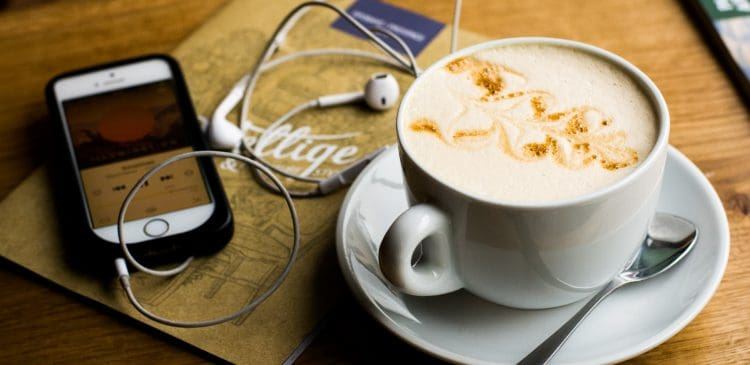 listening to a podcast drinking a latte
